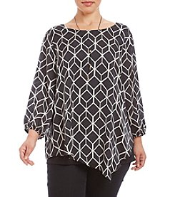 AGB® Plus Size Geo Print Top