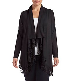 Relativity® Plus Size Solid Color Pleated Fringe Cardigan
