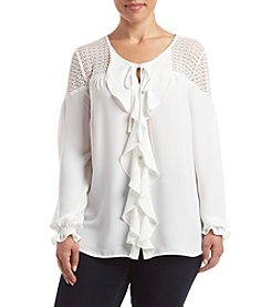 Relativity® Plus Size Lace Yoke Ruffle Blouse