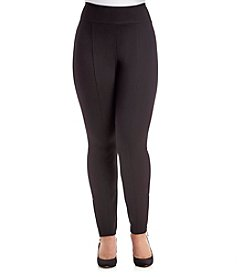 Relativity® Plus Size Solid Color Ponte Zip Hem Leggings