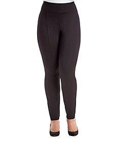 Relativity® Plus Size Solid Color Ponte Zip Hem Leggings