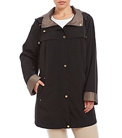 Gallery® Plus Size Faux Silk A-Line Coat
