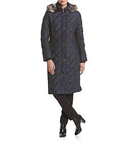 Anne Klein® Diamond Quilted Maxi Down Jacket