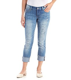 Ruff Hewn Petites' Rip And Repair Fray Hem Jeans