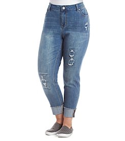 Ruff Hewn Plus Size Rip And Repair Fray Hem Jeans