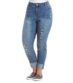 Ruff Hewn Plus Size Rip And Repair Fray Hem Jeans