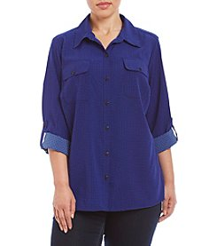 Studio Works® Plus Size Roll Tab Sleeve Blouse