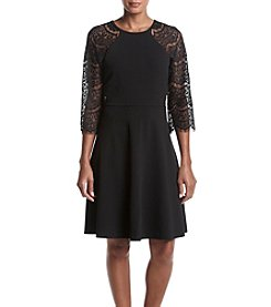 Ronni Nicole® Lace Sleeve Scuba Fit And Flare Dress