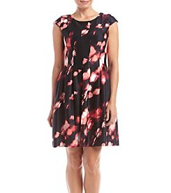 Calvin Klein Petites' Printed Fit And Flare Scuba Dress