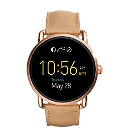 Fossil® Q Wander Touchscreen Leather Strap Smartwatch