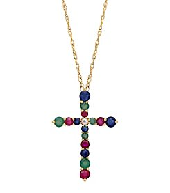 Multi Gem Cross Pendant In 10K Yellow Gold