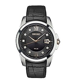 Seiko® Men's Le Grand Sport Solar Watch With Black Leather Strap And Diamond Accents