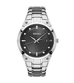 Seiko® Men's Solar Silvertone Watch With Diamond Accents