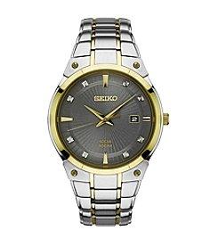 Seiko® Men's Solar Two Tone Watch With Diamond Accents
