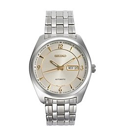 Seiko® Men's Recraft Automatic Silvertone Watch With Champagne Dial