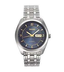 Seiko® Men's Recraft Automatic Watch Silvertone With Blue Dial