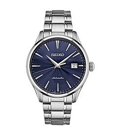 Seiko Men's Automatic Silver Tone Watch With Blue Dial