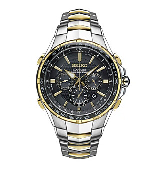 Seiko® Men's Radio Sync Solar Chronograph Two Tone Watch With Black Dial