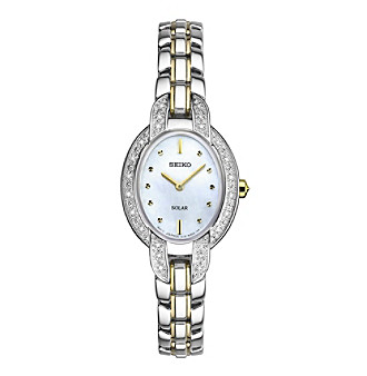 Seiko® Women's Tressia Solar Two Tone Watch With Diamond