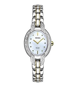 Seiko® Women's Tressia Solar Two Tone Watch With Diamond Accents