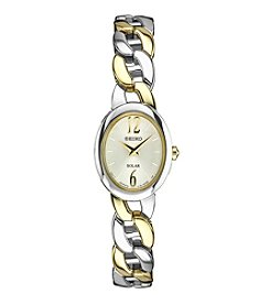 Seiko® Women's Solar Two Tone With White Dial
