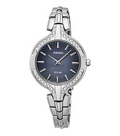 Seiko® Women's Recraft Solar Silvertone Watch With Swarovski Crystal Accents