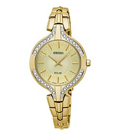 Seiko® Women's Recraft Solar Goldtone Watch With Swarovski Crystal Accents