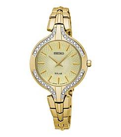 Seiko® Women's Recraft Solar Goldtone Watch With Swarovski Crystal Accents