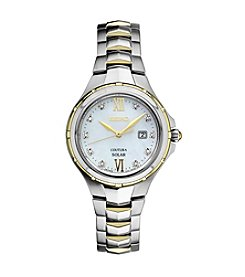 Seiko® Women's Courtura Solar Two Tone Watch With Diamond Accents On Dial