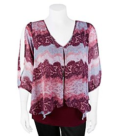 A. Byer Floral Stripe Print Cold Shoulder Top With Necklace