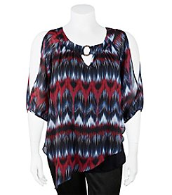 A. Byer Chevron Print Could Shoulder Top