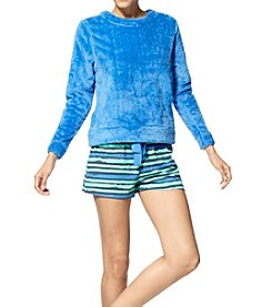 HUE® Fleece Top & Knit Boxer Pajama Set