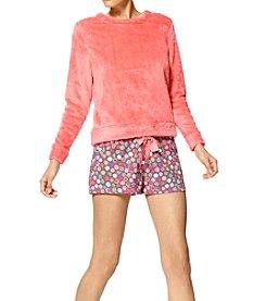 HUE® Fleece Top & Knit Boxer Pajama Set