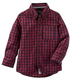 OshKosh B'Gosh® Boys' 2T-7 Long Sleeve Checked Shirt