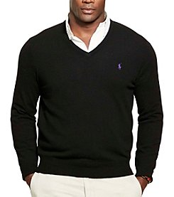 Polo Ralph Lauren® Men's Big & Tall Luxury Merino Wool V-Neck Sweater