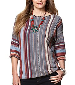 Chaps® Plus Size Striped Fair Isle Sweater