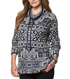 Chaps® Plus Size Patterned Funnelneck Sweater
