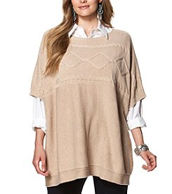Chaps® Plus Size Cable-Knit Poncho