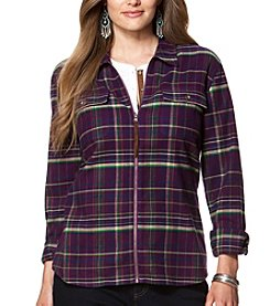 Chaps® Plus Size Plaid Twill Full-Zip Workshirt