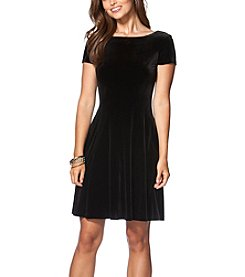 Chaps® Paneled Stretch-Velvet Dress