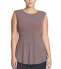Chaus Sleeveless Herringbone Top