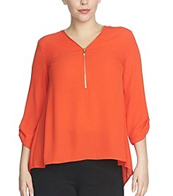 Chaus Roll Tab V-Neck Zipper Top