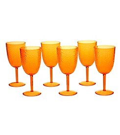 Certified International Set of 6 All Purpose Orange Goblets