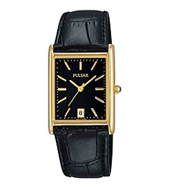 Pulsar® Men's Rectangular Goldtone & Black Leather Watch