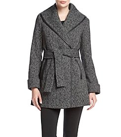 Trina Turk® Belted Fit And Flare Wrap Coat