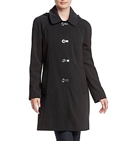 London Fog® Petites' A-Line Hooded Clip Coat