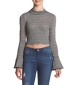 XOXO® Stripe Mock Neck Crop Top
