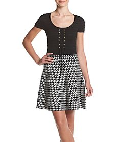 XOXO® Houndstooth Pattern Fit And Flare Dress