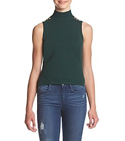 XOXO® Mixed Stitch Grommet Trim Sweater Tank