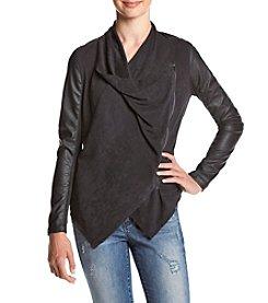BLANKNYC® Asymmetrical Zip Faux Leather Sleeve Jacket